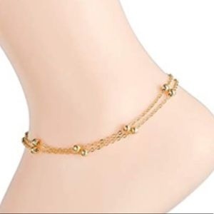 GOLD BEADED DOUBLE LAYER DAINTY ANKLET/BRACELET